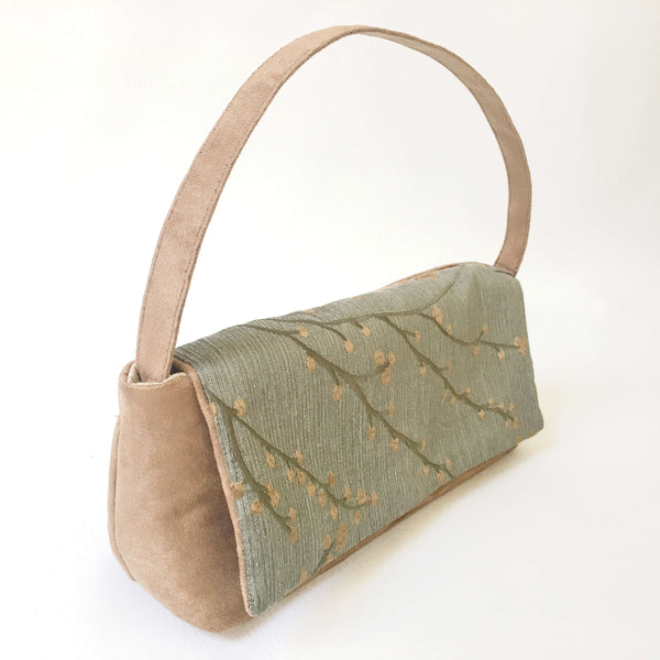 Embroidered Sage Green and Warm Taupe Clutch/Shoulder Bag