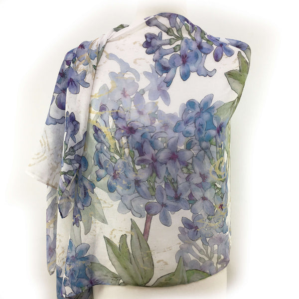 Lilacs on White Scarf - Silk Modal - UndertheLeafDesigns.com