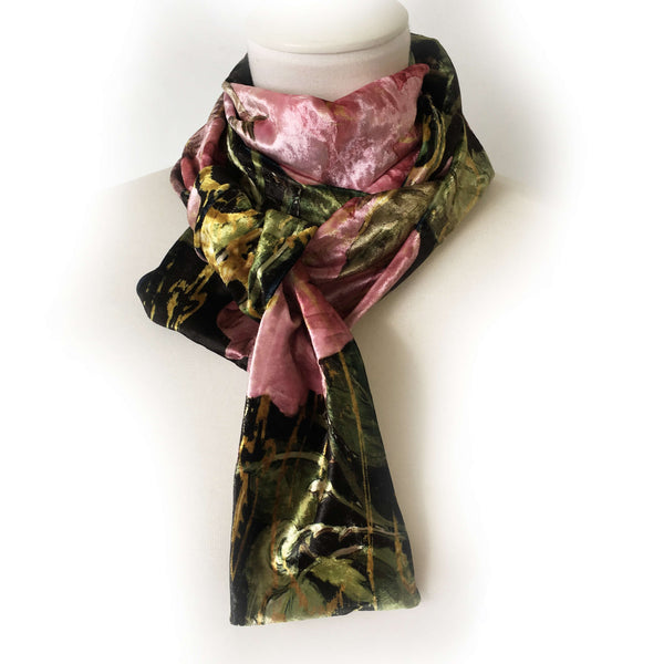 Scroll Rose Scarf - Velour All Season - UndertheLeafDesigns.com