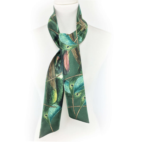 Hummingbirds skinny scarf on green - UndertheLeafDesigns.com