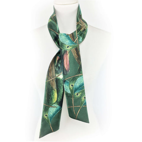 Hummingbirds on green artisan scarf - modern size