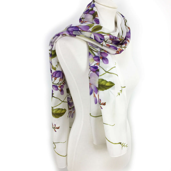 Divine Vines on White Scarf - 100% Silk Habotai - UndertheLeafDesigns.com