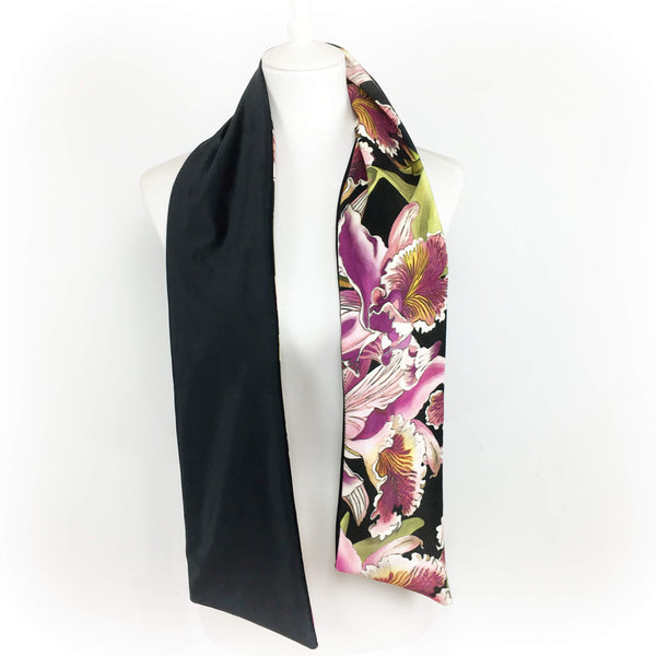 Multiple orchids hand painted velvet scarf - UndertheLeafDesigns.com