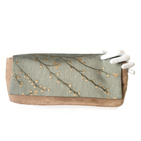 Embroidered Sage Green and Warm Taupe Convertible Clutch/Shoulder Bag - UndertheLeafDesigns.com