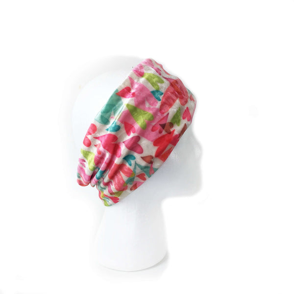 Womans Watercolor Hearts Velour and Modal Neck Scarf/FaceCover/Headband/HatBand/ - All season - UndertheLeafDesigns.com