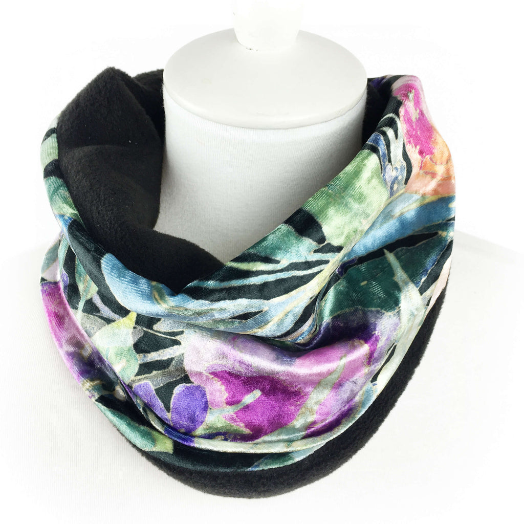 Turquoise Leaf Luxe Womans Athleisure Neck Scarf/Head Muff - All season velour - UndertheLeafDesigns.com