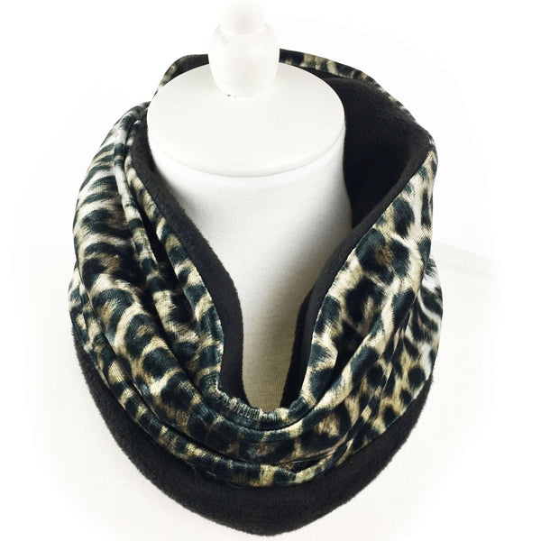 Leopard Athleisure Luxe Womans Neck Scarf/Head Muff - All season velour - UndertheLeafDesigns.com