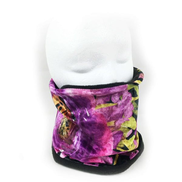 Purple Watercolor Athleisure Luxe Womans Neck Scarf/Head Muff - All season velour - UndertheLeafDesigns.com