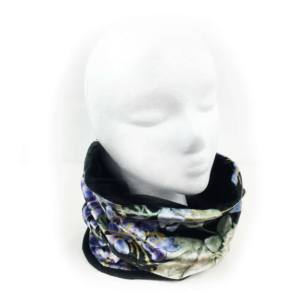 Black Lilac Athleisure Luxe Womans Neck Scarf/Head Muff - All season velour - UndertheLeafDesigns.com