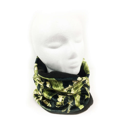 Lily-of-the-Valley and Dragonflies Athleisure Luxe Womans Neck Scarf/Head Muff - All season velour - UndertheLeafDesigns.com