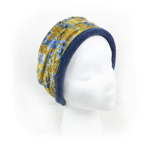 Forget-Me-Nots Mustard Athleisure Luxe Womans Neck Scarf/Head Muff - All season velour - UndertheLeafDesigns.com