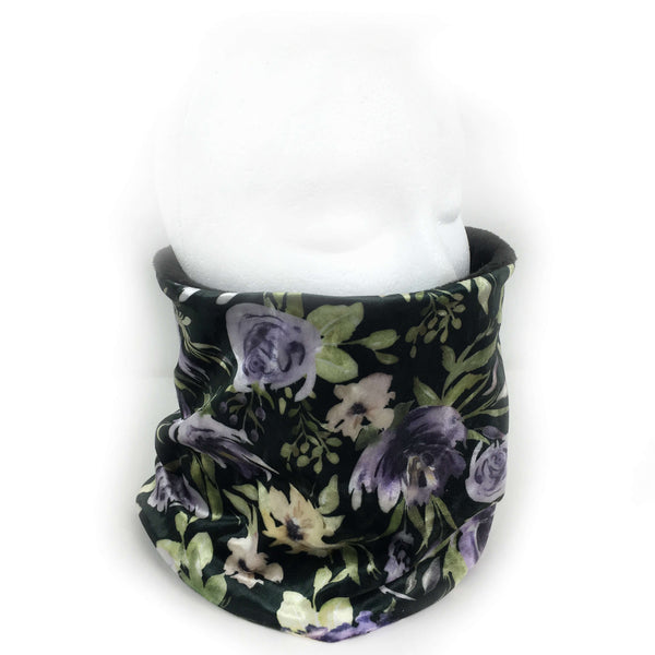 Eggplant Purple Floral Athleisure Luxe Womans Neck Scarf/Head Muff - All season velour - UndertheLeafDesigns.com