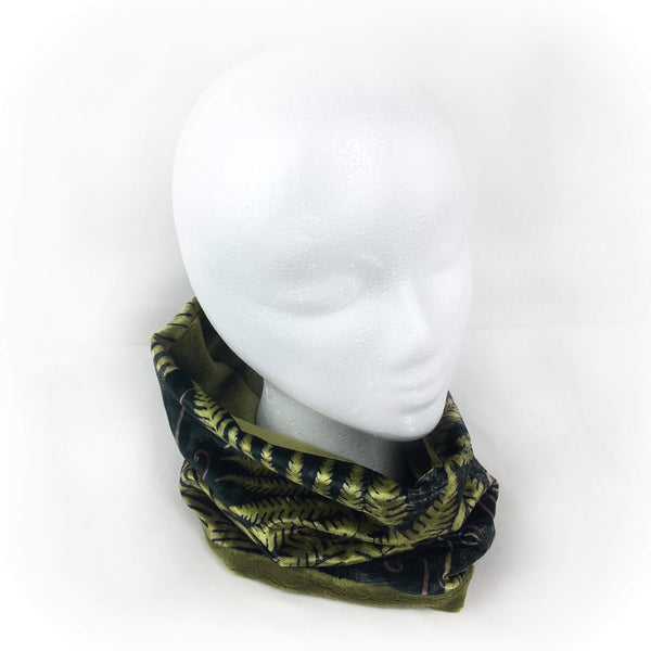 Ferns and Fiddleheads Athleisure Luxe Womans Neck Scarf/Head Muff,designer scarf, velour scarf, handpainted scarf, - All season velour
