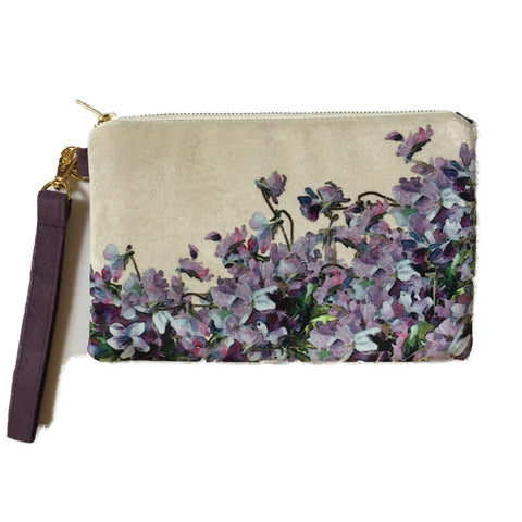 Violets in Velvet and Vegan Suede Clutch/Wristlet - UndertheLeafDesigns.com