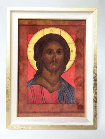 Jesus Christ Icon in Velvet - UndertheLeafDesigns.com