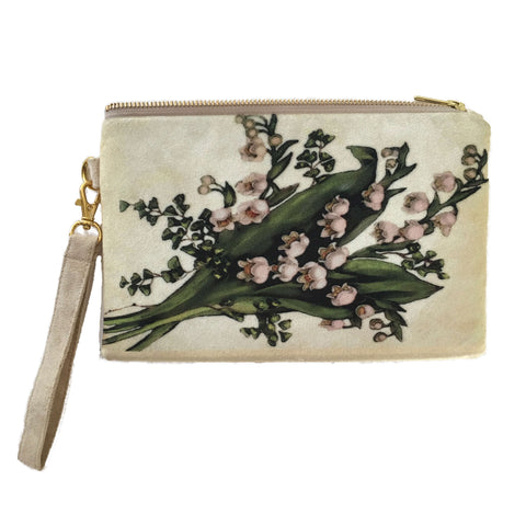 Lily of the Valley Velvet and Cream Vegan Suede Clutch/Wristlet Small - UndertheLeafDesigns.com