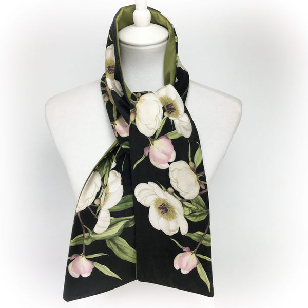 White peony and hummingbird black and olive velvet scarf - UndertheLeafDesigns.com