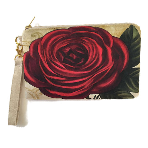 Ruffled Rose Velvet and Vegan Suede Clutch/Wristlet - UndertheLeafDesigns.com