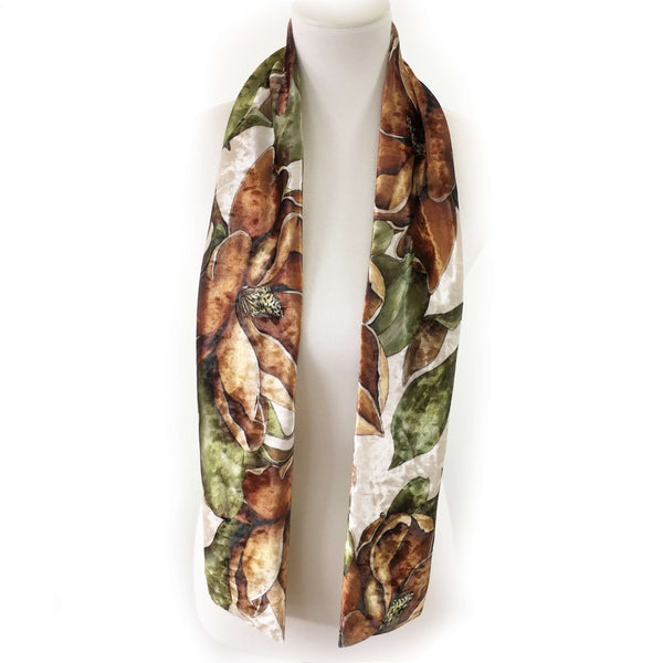 Magnolias on Parchment Scarf - All season velour - UndertheLeafDesigns.com