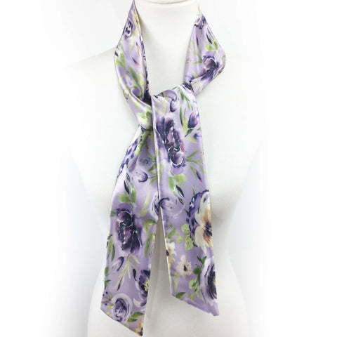 Watercolor mixed floral skinny scarf on lavender
