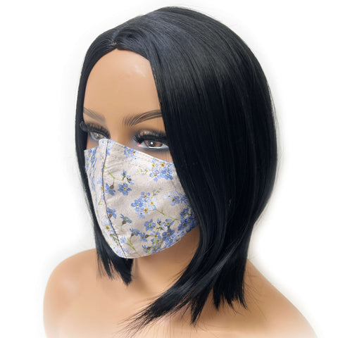 Forget-Me-Nots - Triple Layer Velvet Satin Modal Knit Lined Face Cover - non-medical mask