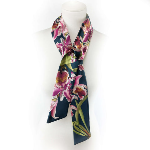 Orchids Skinny Scarf Navy - UndertheLeafDesigns.com