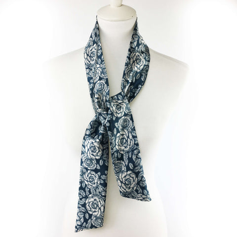 Woodblock Floral Navy Skinny Scarf - UndertheLeafDesigns.com