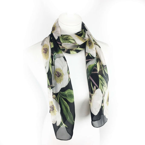 White Peonies and Hummingbirds Chiffon Scarf on Black - UndertheLeafDesigns.com