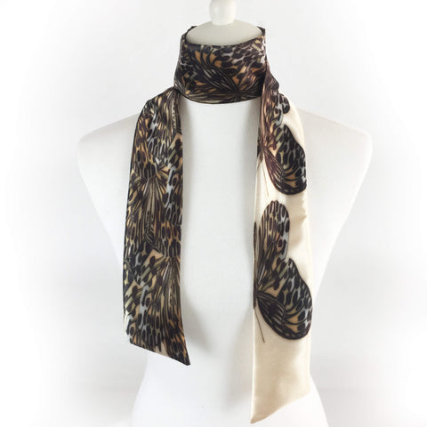Leopard Buttefly Skinny Scarf - UndertheLeafDesigns.com