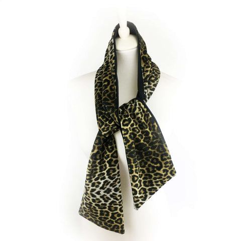 Reversible Leopard and Black hand painted velvet artisan scarf