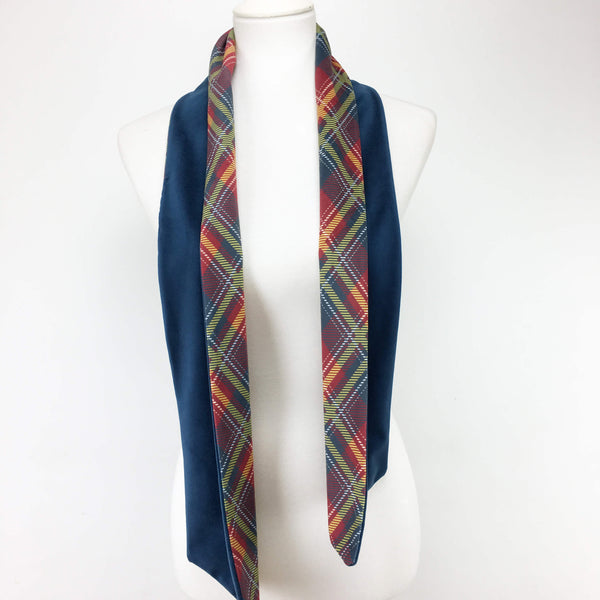 Red and Navy Plaid Scarf Velvet
