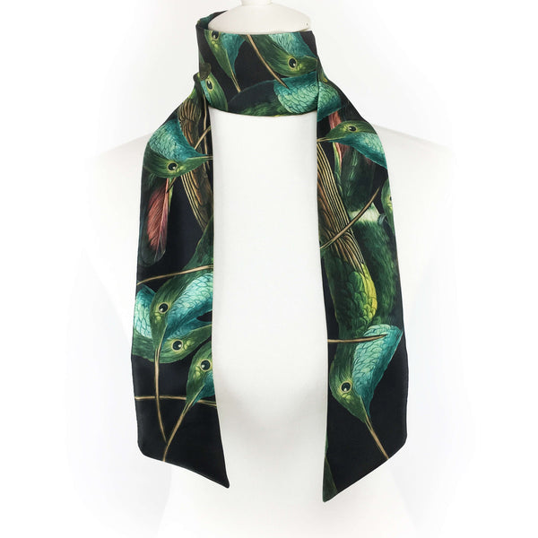 Hummingbirds skinny scarf on black - UndertheLeafDesigns.com