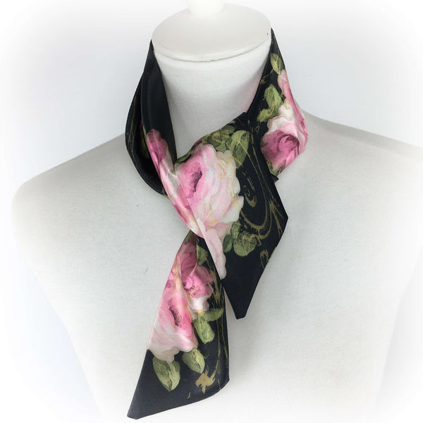 Pink Roses in Oil skinny scarf - UndertheLeafDesigns.com