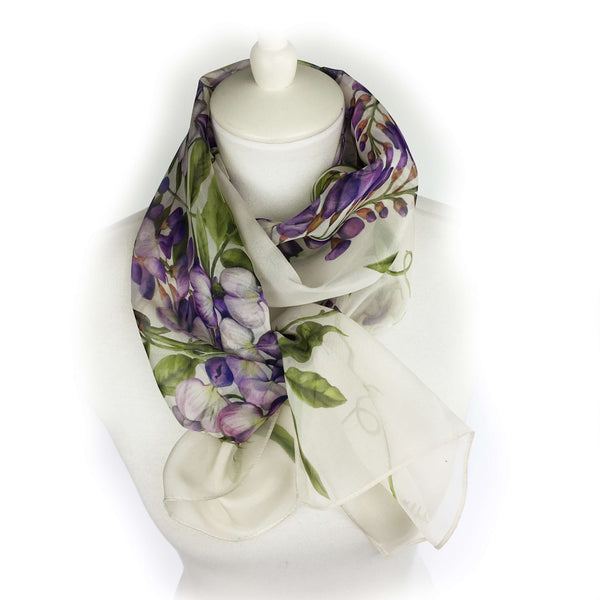 Wisteria floral chiffon scarf on soft white - UndertheLeafDesigns.com