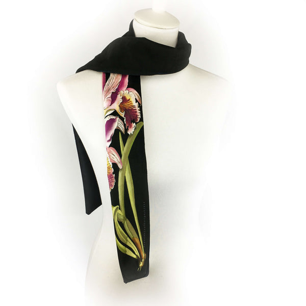 Single orchid hand painted velvet scarf - UndertheLeafDesigns.com