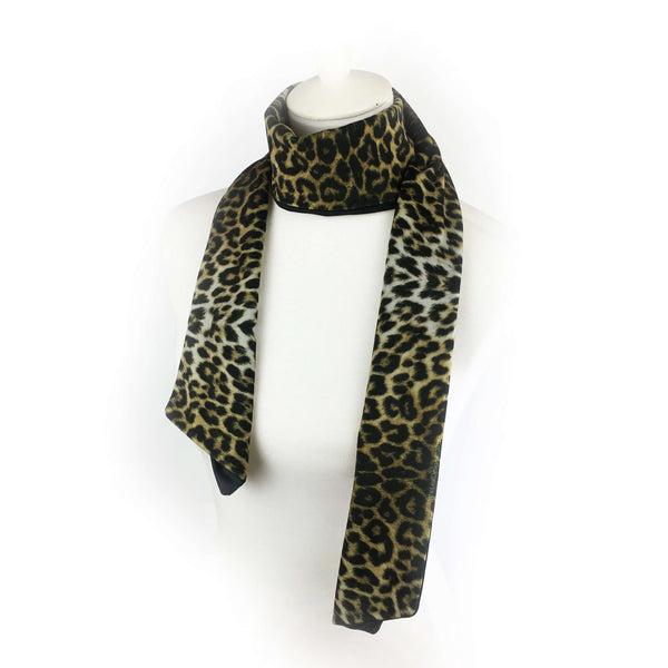 Reversible Leopard and Black hand painted velvet artisan scarf - UndertheLeafDesigns.com