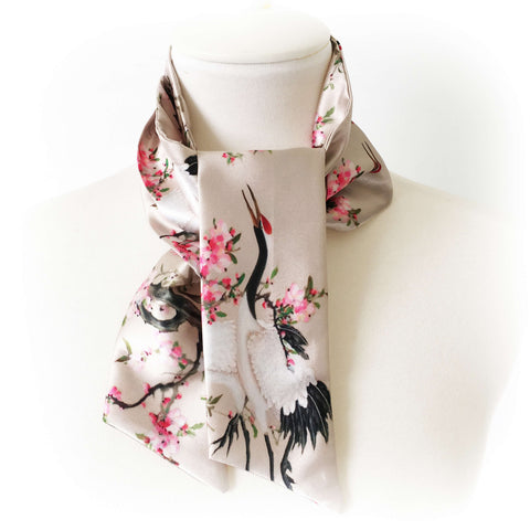 Cranes and apple blossoms hand painted artisan scarf - modern size