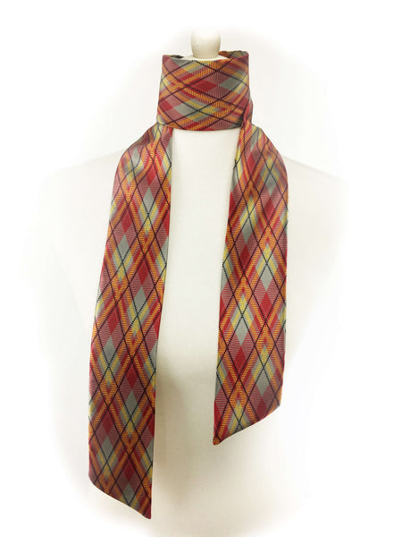 Red mustard gray and black plaid skinny scarf - UndertheLeafDesigns.com