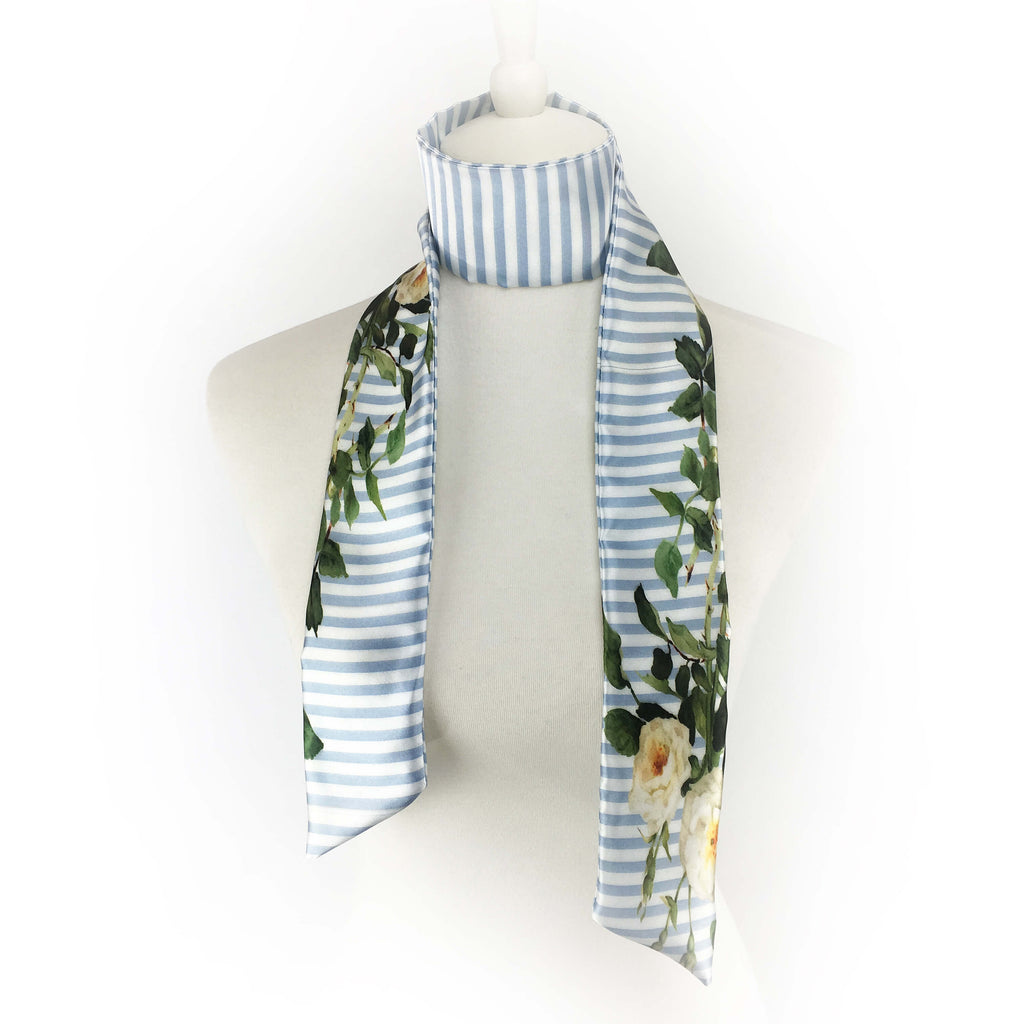 Blue and White Stripe Rose Skinny Scarf