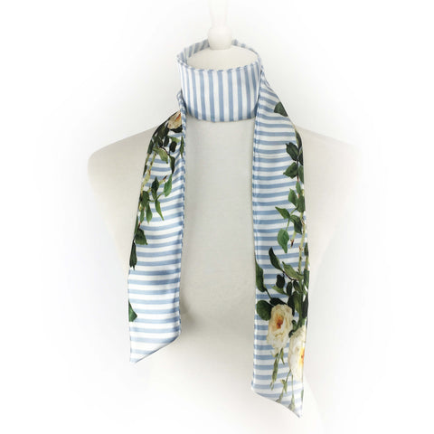 Blue and White Stripe Rose Skinny Scarf - UndertheLeafDesigns.com