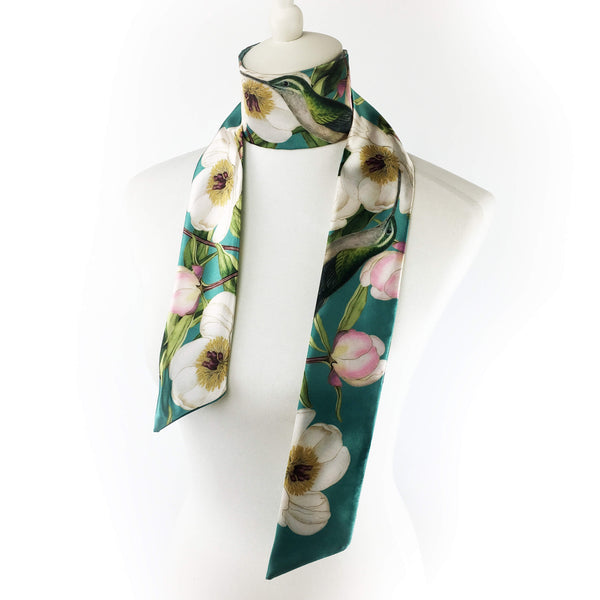White peonies and hummingbirds on turquoise artisan scarf - modern size - UndertheLeafDesigns.com