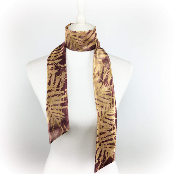 Watercolor Ferns Skinny Scarf - Wine - UndertheLeafDesigns.com