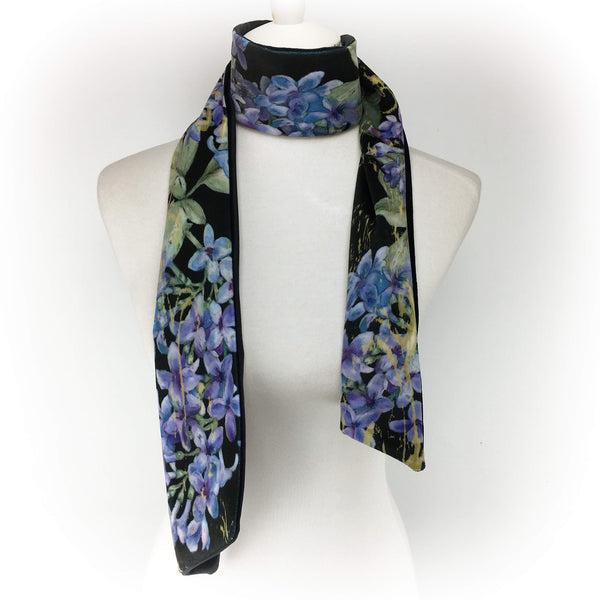 Lilac Velvet Scarf on Black - UndertheLeafDesigns.com