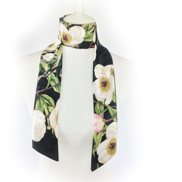White peonies and hummingbirds on black artisan scarf - modern size