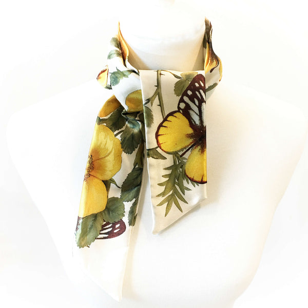 Wild Yellow Rose Skinny Scarf - UndertheLeafDesigns.com