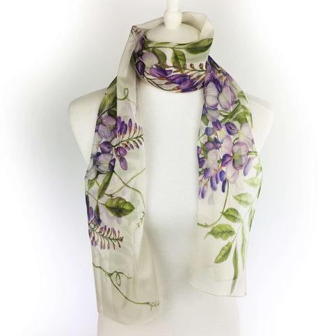 Wisteria floral chiffon scarf on soft white
