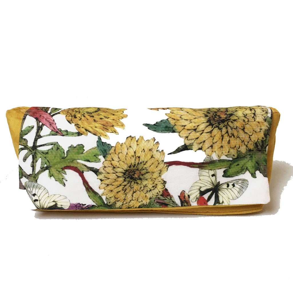 Artist Collection Limited Edition Mum and Butterfly Floral Mustard Convertible Clutch/ Shoulder bag - UndertheLeafDesigns.com