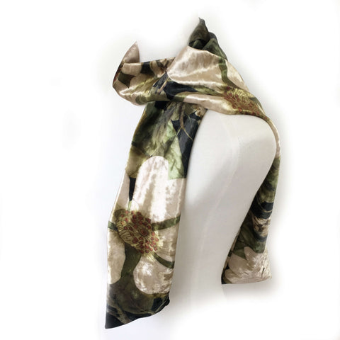 Olive Floral & Leaf Scarf - All season velour - UndertheLeafDesigns.com