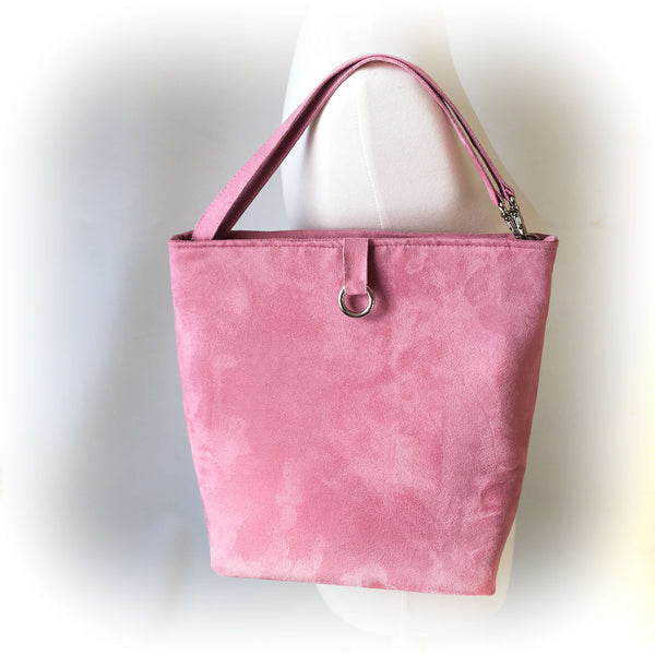 Rose Petal Pink Luxe Vegan Suede 5 Pocket Tote/ShoulderBag - UndertheLeafDesigns.com
