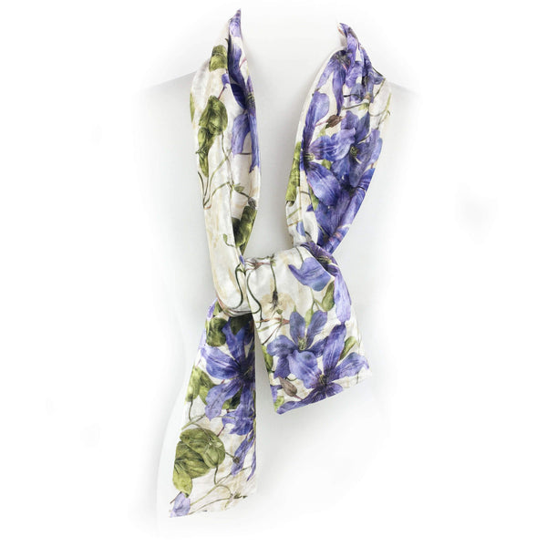 Periwinkle Clematis Vine Scarf - All season velour - UndertheLeafDesigns.com